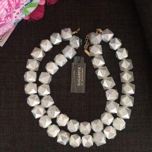 White fun double strand necklace!